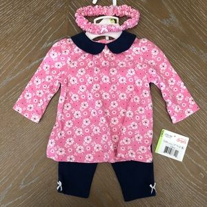 NWT Girl's Little Me 0-3 Month Tunic Set